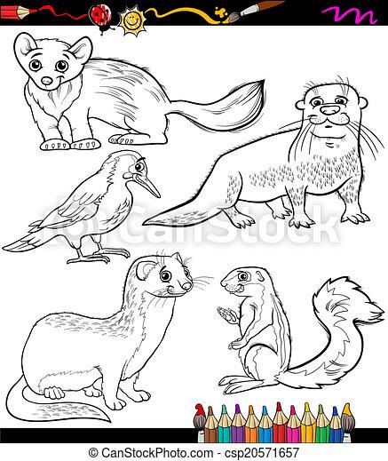 Tiere, färbung, satz, karikatur, buch. Färbung, tiere,... Clipart ...