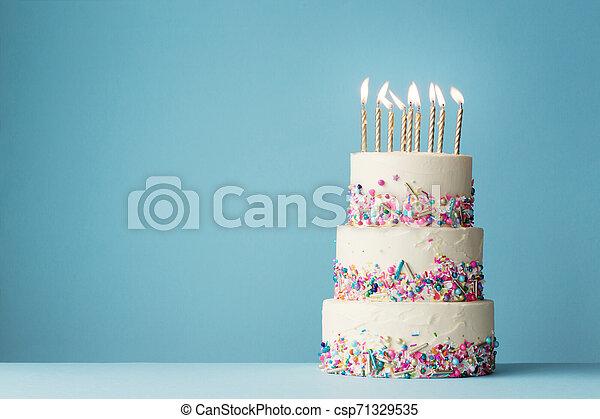 Peachy Tiered Birthday Cake With Sprinkles Birthday Cake With Three Personalised Birthday Cards Paralily Jamesorg