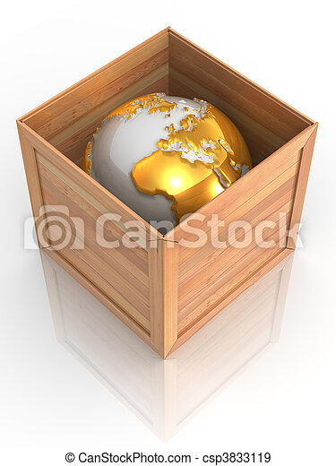 Tierra en caja - csp3833119