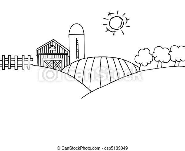 Tierra de cultivo, silo. Colorido, contorno, granja, colinas, tierra ...