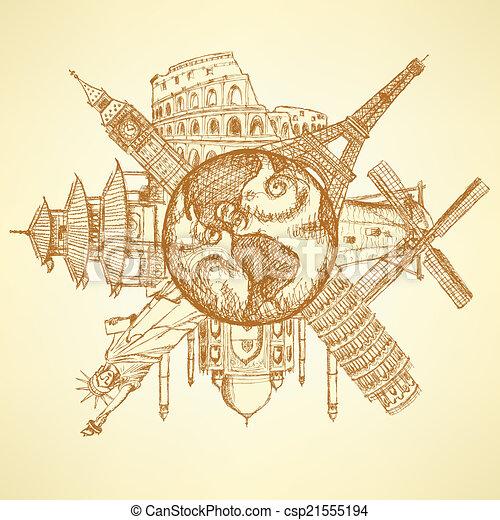 Edificios famosos en el planeta Tierra - csp21555194