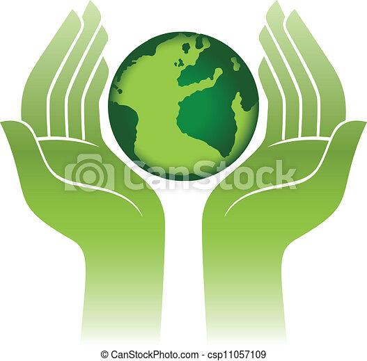 Planeta Tierra en manos - csp11057109