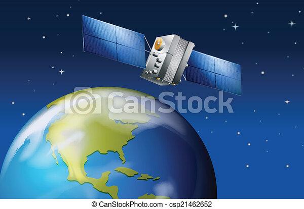 Satélite cerca del planeta Tierra - csp21462652
