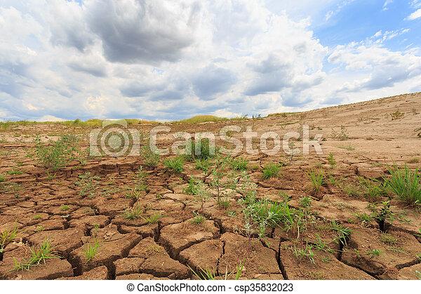 tierra, grieta, superficie, árido, área - csp35832023