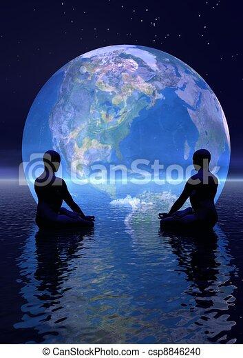 tierra, meditación - csp8846240
