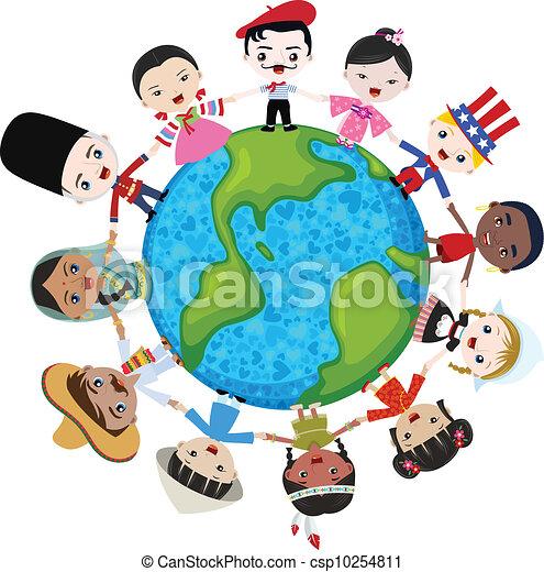 tierra, multicultural, niños - csp10254811