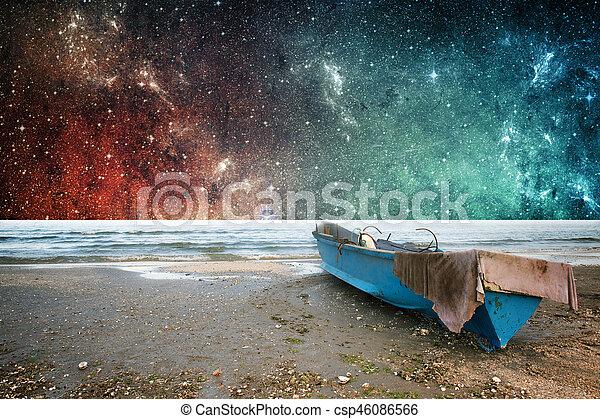 Tierra y papel de fantasía espacial - csp46086566