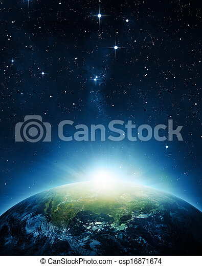tierra, salida del sol - csp16871674