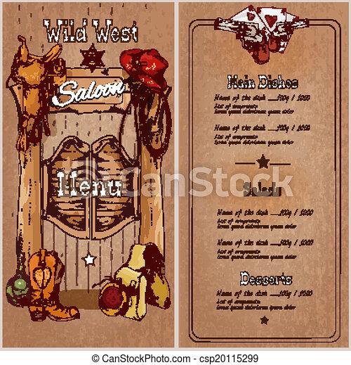 Menú de salón del salvaje oeste - csp20115299