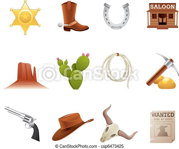 iconos del salvaje oeste - csp6473425