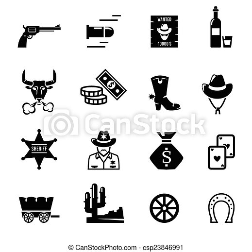 iconos del salvaje oeste - csp23846991
