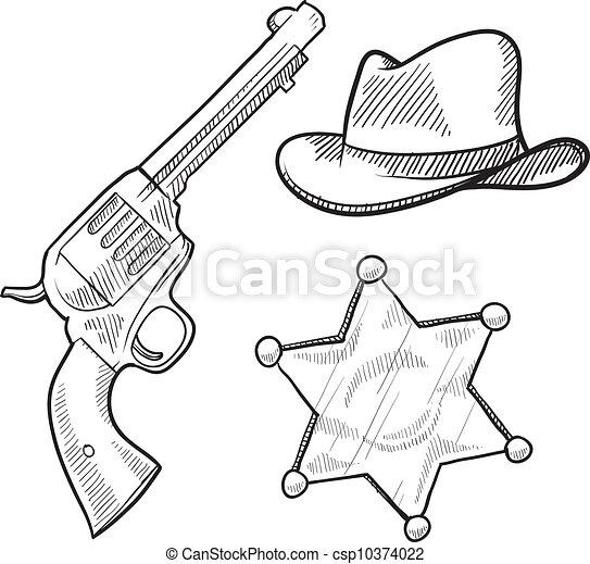 El sheriff del Salvaje Oeste objeta el boceto - csp10374022