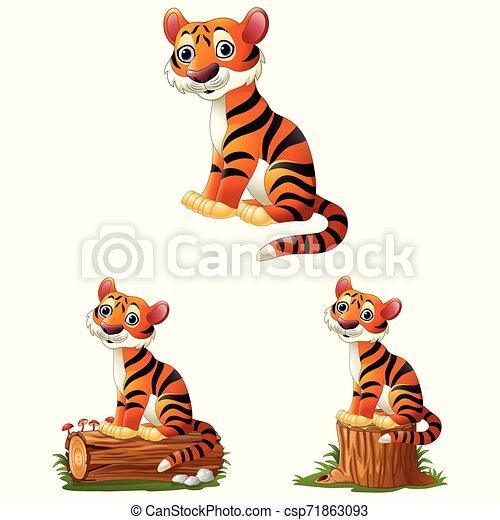 tiger, モデル, 丸太, 漫画 - csp71863093
