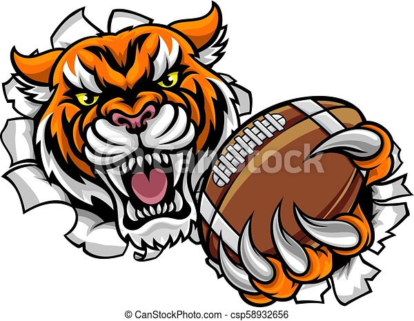 Tiger American Football Ball Breaking Background - csp58932656