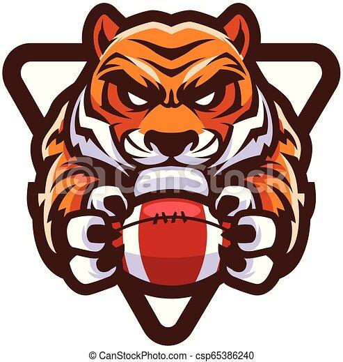Tiger American Football Mascot - csp65386240