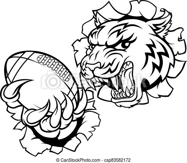 Tiger American Football Player Sports Mascot - csp83582172