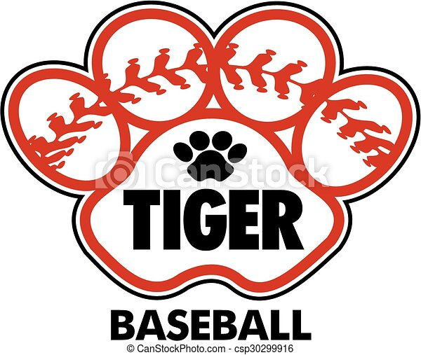 tiger baseball design with stitches inside paw print vector clip art rh canstockphoto com baseball vector art free baseball vector art clipart