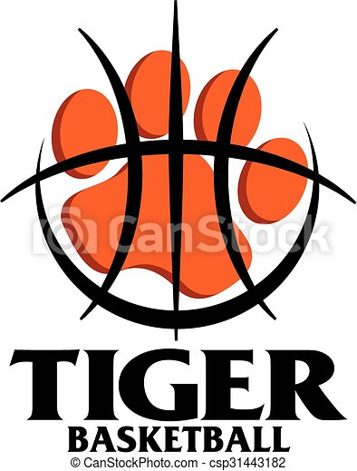 tiger basketball team design with large paw print inside vector rh canstockphoto com baseball vector art free basketball player vector art
