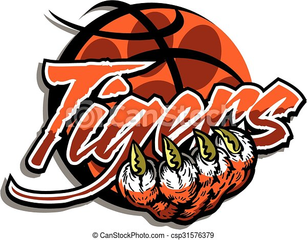 Tiger Basketball Team Design With Paw Print Inside A
