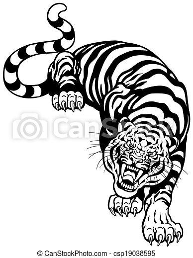 tiger black white - csp19038595