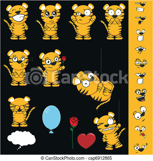 tiger cartoon set1 - csp6912865