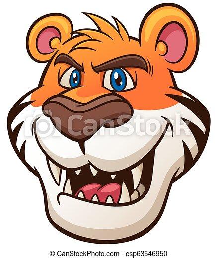 Vector Illustration Of Tiger Head Cartoon Canstock
