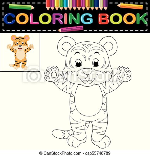 illustration of tiger coloring book vector search clip art