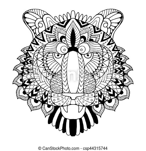 Tiger Coloring Book Vector Illustration