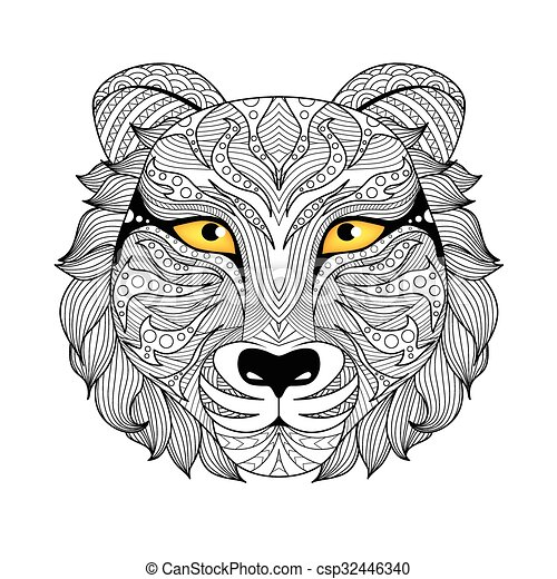 Tiger Coloring Page Face Zentangle Design For Tattoo T