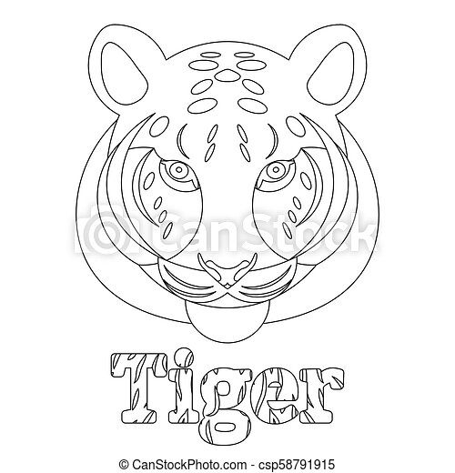 Tiger. Coloring page for kids. Wild mammal is an animal. Linear style