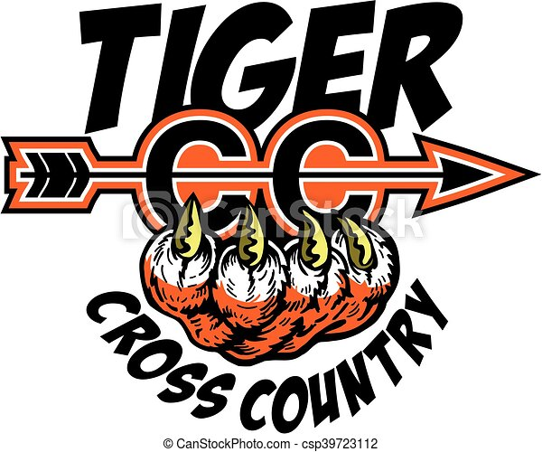 tiger cross country team design with arrow and claw for school rh canstockphoto com cross country clipart free cross country runner clipart