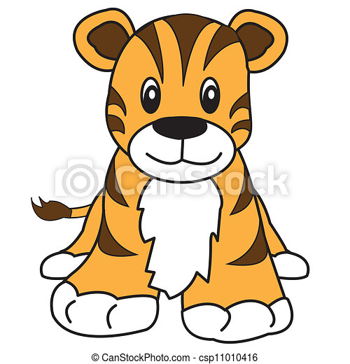 tiger cute animal cute tiger with brown stripes and orange rh canstockphoto com  cute tiger face clipart
