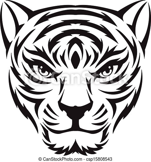 tiger face tattoo vintage engraving tiger face tattoo eps rh canstockphoto com tiger face clipart black and white angry tiger face clipart