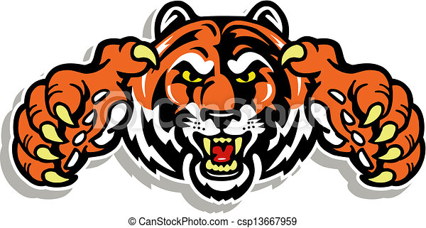 tiger face with claws - csp13667959