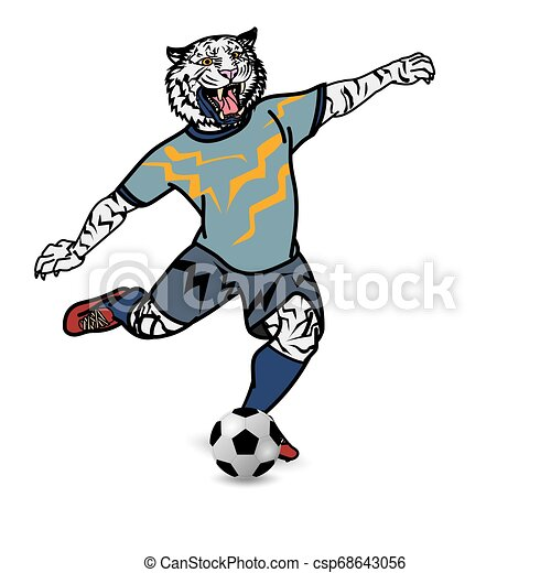 Tiger football player is kicking football on white background - csp68643056