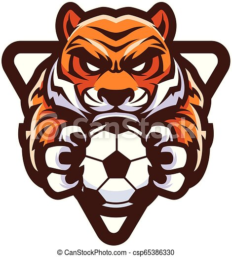 Tiger Football Soccer Mascot - csp65386330