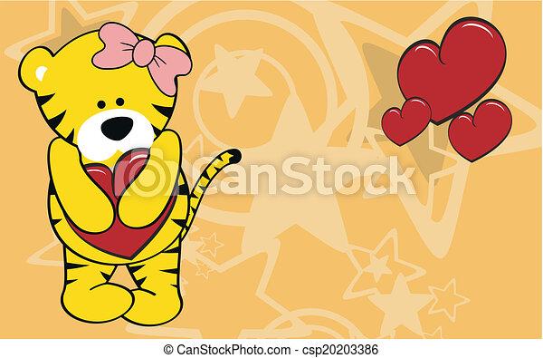 Tiger Girl Cartoon Love Wallpaper In Vector Format Very Easy To Edit
