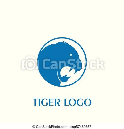 Tiger Head Icon With Blue Color Tiger Logo Vector Icons