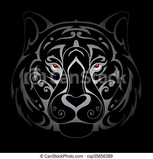 Tiger head illustration - csp35656389