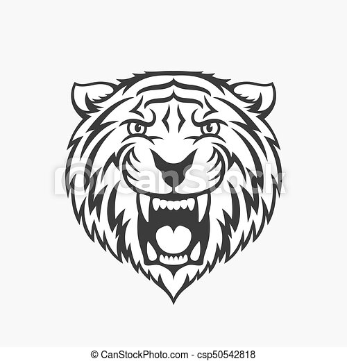 tiger head logo emblem or icon in one color stock vector illustration rh canstockphoto com tiger head logo design missouri tiger head logo