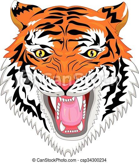 tiger head mascot - csp34300234