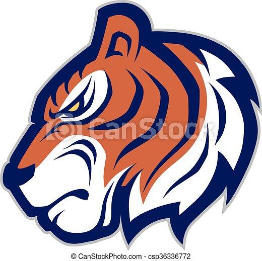 tiger head mascot clipart picture of a tiger head cartoon mascot rh canstockphoto com Cartoon Tiger Mascot clemson tiger mascot clipart