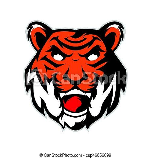 tiger head mascot logo isolated in white background rh canstockphoto com tiger head logo vector tiger head logo design