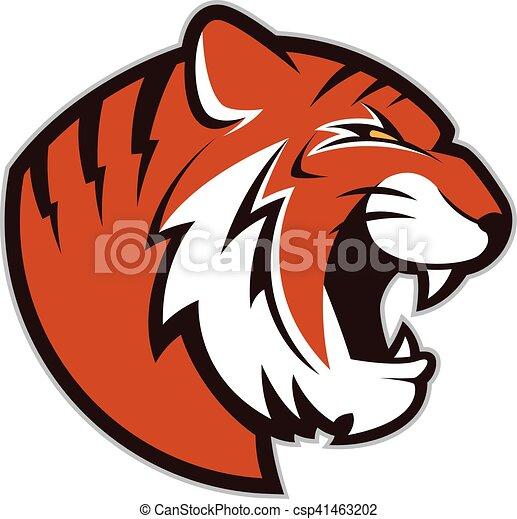 tiger head mascot clipart picture of a tiger head cartoon mascot rh canstockphoto com Cute Cartoon Tiger Head cartoon tiger head vector