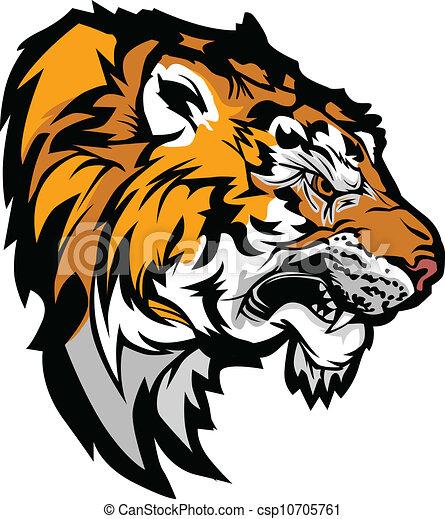 Tiger Head Profile Graphic Mascot Illustration  - csp10705761