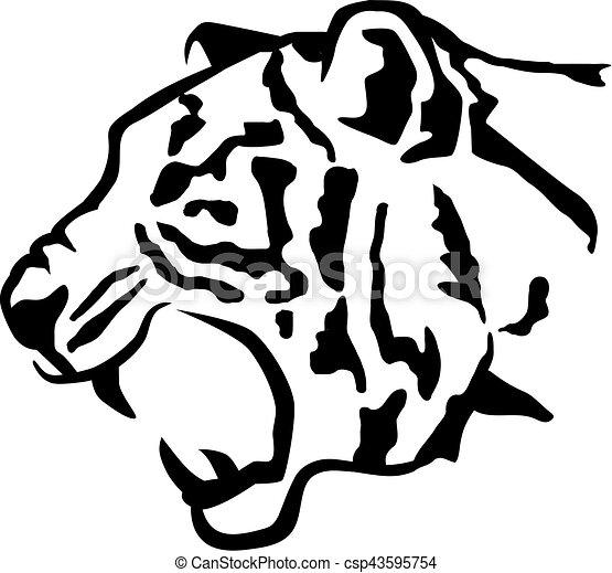 tiger head sideview clipart vector search illustration drawings rh canstockphoto com tiger head clipart free roaring tiger head clipart