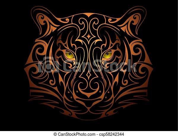 Tiger head tattoo - csp58242344