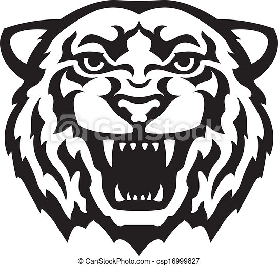 tiger head tattoo black and white tiger head tattoo stylized rh canstockphoto com tiger head clipart free clipart tiger head