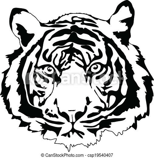 tiger head in black interpretation in vectorial format rh canstockphoto com tiger head clipart black and white roaring tiger head clipart