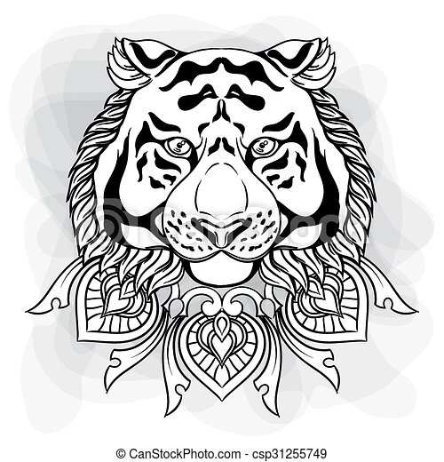 Tiger head with ornament mandala. Vintage hand drawn illustration in linear style. Black and white drawing isolated on white. - csp31255749